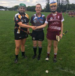 Clarecastle Ballyea captain Jane Flanagan, ref Aine Nic Cormaic and St Joseph's captain Caoimhe Hoey